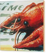 Times Picayune Crawfish Wood Print by Terry J Marks Sr
