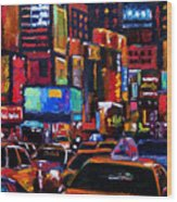 Times Square Wood Print by Debra Hurd