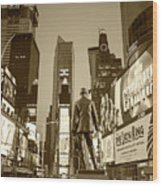 Times Square Ny Overlooking The Square Sepia Wood Print