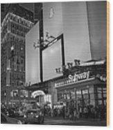 Times Square Subway Stop At Night New York Ny Black And White Wood Print