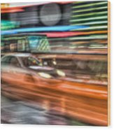 Times Square Traffic Wood Print