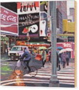 Times Square Umbrellas Wood Print