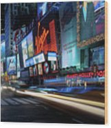Times Square With Light Trail Wood Print