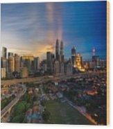 Timeslice Of Day To Night Of Kuala Lumpur City Wood Print