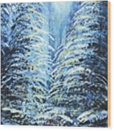 Tim's Winter Forest Wood Print