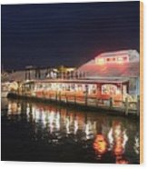 Tin City At Night -naples Fl Wood Print