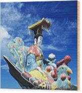 Tin Hua Temple Closeup Of Colorful Statue Wood Print