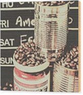 Tin Signs And Coffee Shops Wood Print