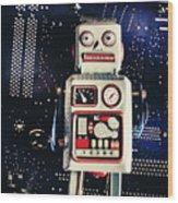 Tin Toy Robots Wood Print