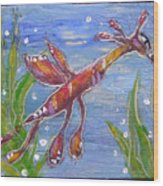 Tiny Anthropomorphic Sea Dragon 2 Wood Print