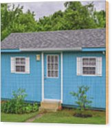 Tiny Blue House Wood Print