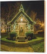 Tiny Chapel With Lighting At Night Wood Print
