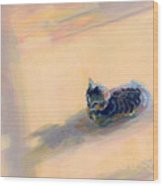 Tiny Kitten Big Dreams Wood Print