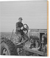 Tip Estes, A Hired Hand On An Indiana Wood Print