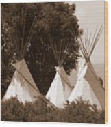 Tipis In Toppenish Wood Print