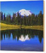 Tipsoo Lake And Mt Rainier Wood Print