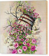 Tipsy Whiskey Barrel Wood Print