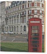 Titanic Hotel And Red Phone Box Wood Print