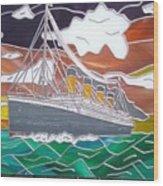 Titanics Last Sunset In Beautiful Stained Glass. Wood Print