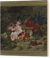 Title Flowers And Fruit Wood Print