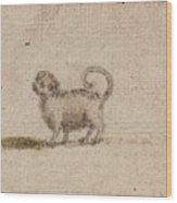 Title Sketch Of A Pug Dog Wood Print