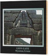 Titled Lion Gate Of Mycenae Wood Print