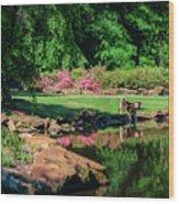 Taking A Break At The Azalea Pond Wood Print