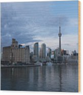T O Harbour In Blue Wood Print