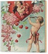 To My Valentine Vintage Romantic Greetings Wood Print