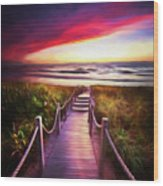 To The Beach Early Morning Watercolor Painting Wood Print