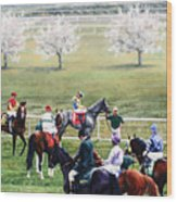 To The Gate At Keeneland Wood Print by Thomas Allen Pauly