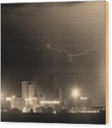 To The Right Budweiser Lightning Strike Sepia  Wood Print