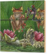 Toasted Frogs Wood Print