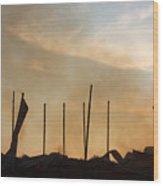 Tobacco Barn Fire IIi Silhouette Wood Print