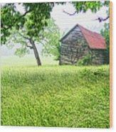 Tobacco Barn In Fog Wood Print