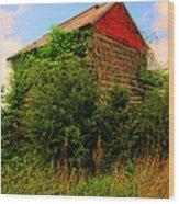 Tobacco Barn On A Rise Wood Print