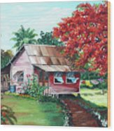 Tobago Country House Wood Print