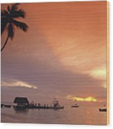 Tobago, Pigeon Point Sunset, Caribbean Sea, Wood Print