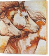 Tobiano Horse Trio Wood Print