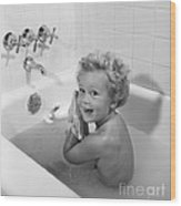 Toddler In Bath, 1950s Wood Print