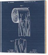 Toilet Paper Roll Patent 1891 Blue Wood Print