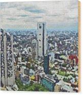 Tokyo City View Wood Print