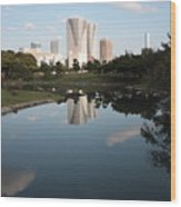 Tokyo Highrises With Garden Pond Wood Print