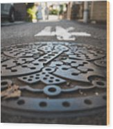 Tokyo Sewer Cover Wood Print