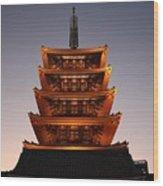 Tokyo Temple Lights Wood Print