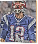 Tom Brady Art 5 Wood Print