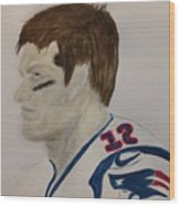 Tom Brady Determined Wood Print