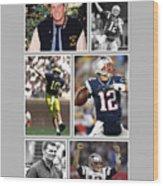 Tom Brady Football Goat Wood Print