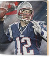 Tom Brady New England Patriots Wood Print