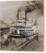 Tom Greene River Boat Wood Print